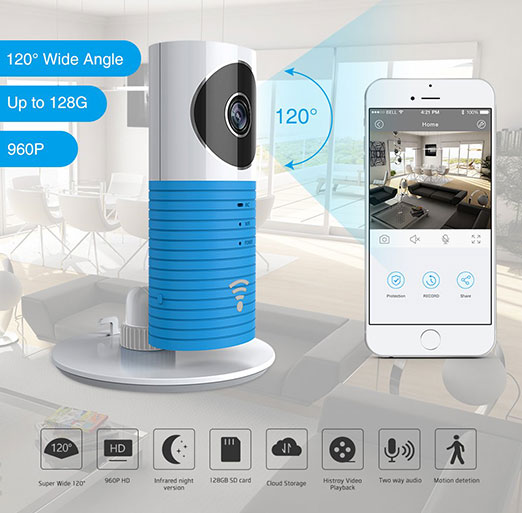 Clever Dog HD Security Camera Wifi with Wide Angle Side